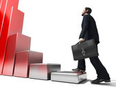Business man climbs up to the top of 3D success stairs steps — Stock Photo