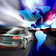 Stock Photo: Fast car moving with motion blur