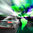 Fast car moving with motion blur — Stock Photo