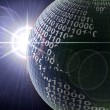 Binary code on a surface of a planet — Stock Photo