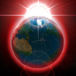 Earth with Rising Sun illustration — Stock Photo