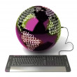 Earth Globe connected with computer keyboard. — Stock Photo
