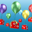 Percent blocks on a balloons — Stock Photo