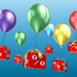 Percent blocks on a balloons — Stock Photo