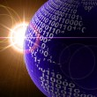 Stock Photo: Binary code on a surface of a planet