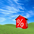 House with percent symbol - Stock Photo