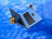 Weightless laptop — Stock Photo