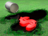 The oil pool pollutes environment — Stock Photo