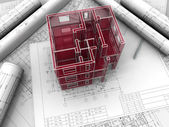 Breadboard model of a building made under drawings — Stock Photo