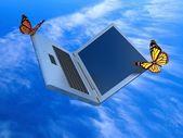 Weightless laptop — Stock Photo