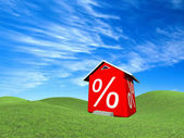 House with percent symbol — Stock Photo