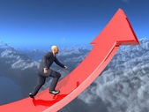Businessman towards arrow pointing up direction overcome of economy recession concept 3d illustration — Stock Photo