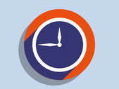 Flat long shadow icon of clock — Stock Photo