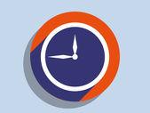 Flat long shadow icon of clock — Stock Photo