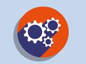 Flat long shadow icon of gears — Stock Photo