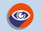 Flat long shadow icon of supervision — Stock Photo
