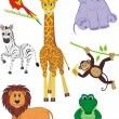 Set cute safari animals — Stock Vector