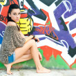 Girl and graffiti — Foto Stock
