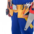 Worker with tool belt - closeup — Stock Photo