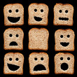 Stock Photo: Bread slices with face expressions