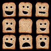 Bread slices with face expressions — Stock Photo