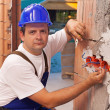 Installing electrical wires — Stock Photo
