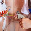Electrician hands with pliers — Stock Photo