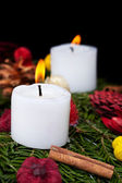 Christmas candles on advent wreath — Stock Photo