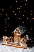 Gingerbread house under starry sky — Stock Photo