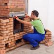 Building a masonry heater — Stock Photo
