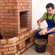 Building a masonry heater — Foto Stock
