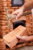 梅森手砖和锤子 — 图库照片