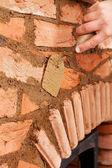Building a masonry heater - detail — Stock Photo