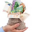 Euro banknotes in small burlap sack — Stock Photo