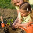 Woman and little girl in the garden - Stock Photo