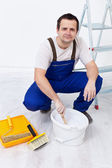Worker preparing the paint — Stock Photo