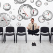 Project manager bending time to meet deadlines — ストック写真