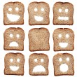 Bread slices with facial expressions — Stock Photo