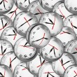 Clocks in bubbles - deadlines and time management concept - Stock Photo
