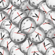 Clocks in bubbles - deadlines and time management concept — Stock Photo