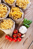 Pasta variety and specific cooking ingredients — Stock Photo