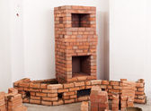 Partially built masonry heater — Stock Photo