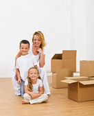 Happy people in a new home — Stock Photo