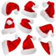 Santa Claus hats isolated on white — Foto Stock
