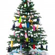 Plastic bottles waste decorating a christmas tree — Stock Photo