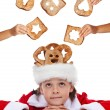 Christmas charity - giving food for the needy — Stock Photo #34869587