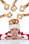 Christmas charity - giving food for the needy — Stock Photo