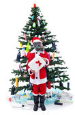 Sad santa with gas mask - environmental concept — Stock Photo