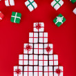 Christmas tree made of small present boxes — Stock Photo