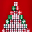 Christmas tree made of tiny gift boxes — Stock Photo